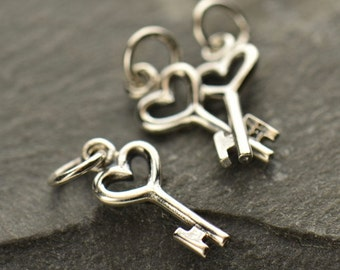 Tiny Sterling Silver Heart Key Charm