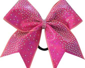 Shimmer Rhinestone Holographic Rose Fuchsia Cheer Bow