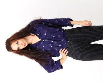 Vintage Ornamented Purple Buttoned Oversized Slouchy Shirt