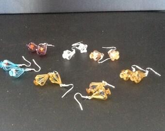 vintage handblown bird cage glass earings