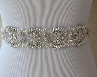 Pearl Crystal Rhinestone Bridal Sash,Bridal sash,Wedding sash,Bridal Accessories,Wedding Accessories,