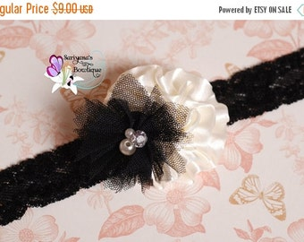 SALE CIJ Ivory Black Satin Tulle Flower Lace Headband - Baby Toddler Girl Woman - SB-084