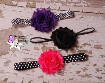 Baby Toddler Girl Woman Headband Set, Shabby Flower Headband, Purple Black Hot Pink, Animal Print, Polka Dots - SBst-008