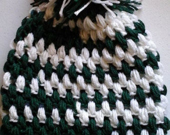 Kelly green and white slouch hat