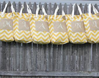 6 Bridesmaid Totes, Beach Bags, Yellow Chevron Bags, Burlap Tote Bags, Bridesmaid Gifts