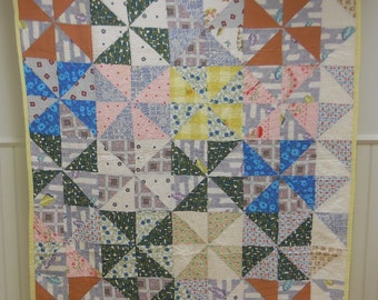 Unique 1930s - 1940s, County Quilt.  Hobo or Pinwheel Pattern.  Hand Stitched.