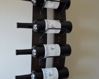 Rustic Wine rack - with steel banding , made from reclaimed wood