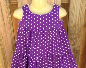 Purple Polka Dot 3 Tier Dress