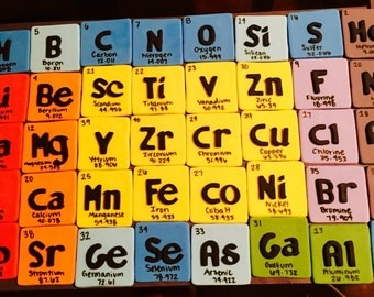 Periodic Table of Elements cupcake toppers, science theme birthday topper, element cupcake toppers, chemistry cupcake toppers