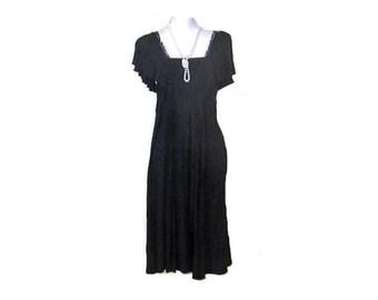 1980s BLACK WIGGLE Dress, Little black dress, Vintage black dress, pull on cotton dress, black evening dress, EuropeanRetroFashion