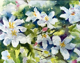 Apple Blossoms spring flowers watercolor original painting