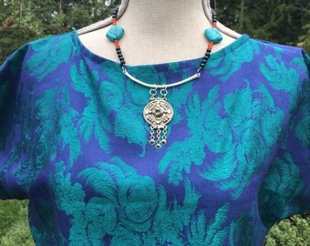 Vintage brocade crop top blouse medium large
