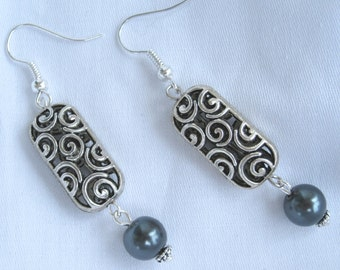 Whimsical Swirl Dangling Dark Grey Pearl Earrings
