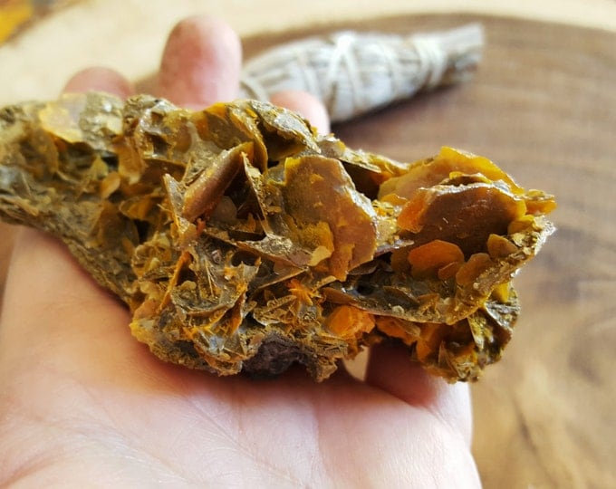Wulfenite on mica ~ 1 Reiki infused crystal cluster approx 3.7 x 1.9 x 1.4 inches (Wulf04)