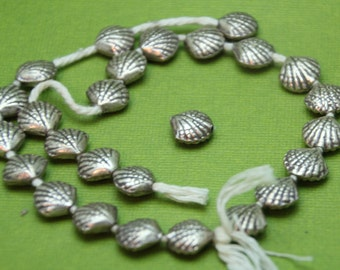 10mm sterling silver shell beads antiqued