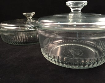 Set of 2 Vintage Clear Anchor Hocking Bowls with Lids, 4 Pieces in Total, 2 Bowls 2 Lids, Ribbed Sides Anchor Hocking Bowls