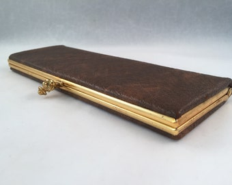 Long Sleek Vintage Brown Clutch/Wallet with Kiss Clasp