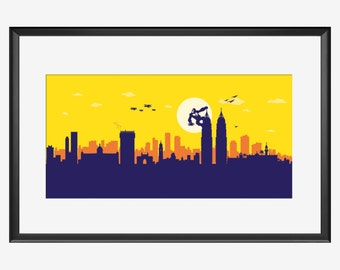 Mumbai Skyline print, Mumbai art, Mumbai print, Mumbai poster, Mumbai India, King Kong inspired art,King Kong print, King Kong nursery art