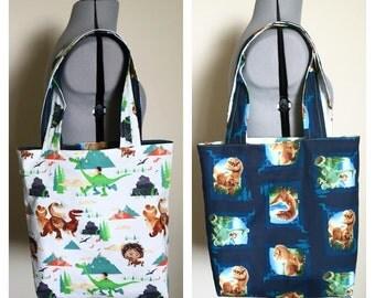 The Good Dinosaur Reversible Tote Bag, Reversible Bag, Library Bag, Farmer's Market Bag, Beach Bag