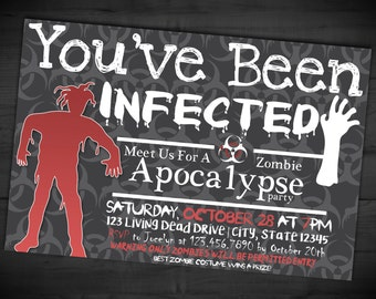Zombie Apocalypse Party Invitation - Halloween Adult Party Invite - You've Been Infected - Printable or Printed - SHIPPING INCLUDED - 4x6