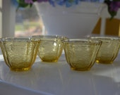 four vintage Federal Glass Madrid amber custard cups, jellow molds, dessert cups, pressed depression glass