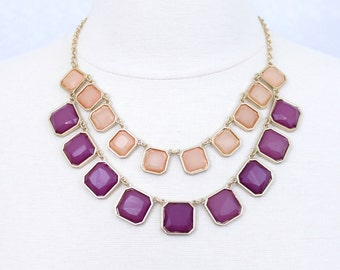Double Strand Statement Necklace Pink Purple Statement Necklace Bib Necklace Multi Strand Necklace