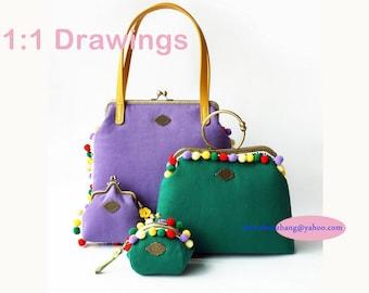 4 Design 25CM /10cm/21.5cm/10.5cm Ethnic Style purse frame  bag pvc  pattern  in sets
