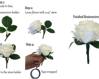 set of 6: Boutonniere Corsage Stem holder(with greenery)-DIY Easy to make a live-look boutonniere