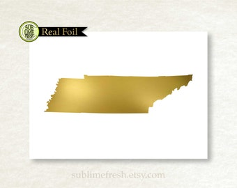 State of Tennessee, Gold Foil Silhouette, Silver Foil Print, Map Outline Art, Travel Gift