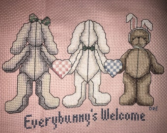 Completed Janlynn 40-62 Everybunny's Welcome Counted Cross Stitch
