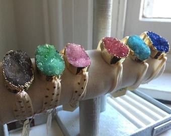 Druzy Ribbon Bracelets
