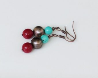 """Earrings """"Copper & stones""""/ copper and beads"""