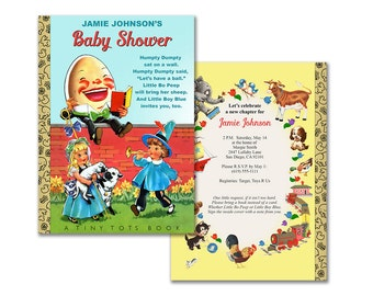 Baby shower nursery rhyme invitation / Humpty Dumpty book printable invitation / storybook theme shower / editable PDF / neutral colors