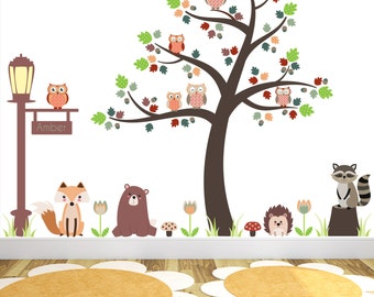 Woodland Nursery Wall Decal. Autumn Critters, Forest animals, Tree Mural. Baby personalised wall stickers, kids fall, Fairytale creatures