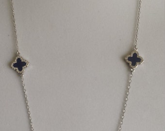 "Silver Long Clover Necklaces,36"" Long, Royal blue enamel clover with crystal stone,four leaf clover,Mother's day gift"