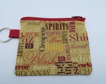 Wine words keychain coin purse