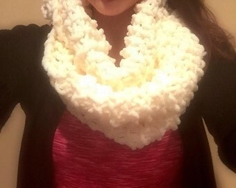Cream Hand Knit Infinity Scarf