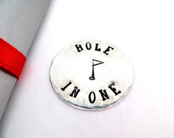 """Golf marker aluminum golf ball marker hand stamped """"Hole in One"""" gift box included"""