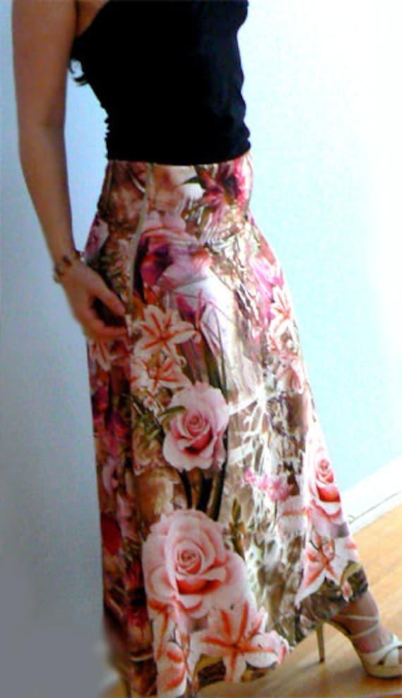 Rose print skirt- Flowers maxi skirt, boho print skirt -Fashion floral maxi skirt- Romantic elegant women skirt- Formal party skirt