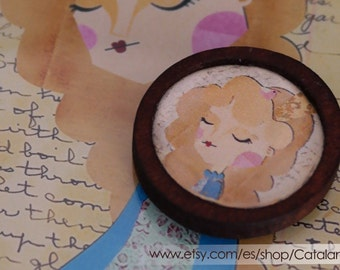 Princess Marmalade illustrated brooch - Wooden cameo with drawing