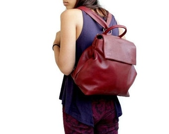 ON SALE Leather backpack in bordeaux , convertible backpack women