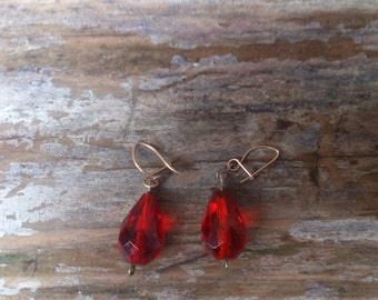 vintage red glass drop earrings