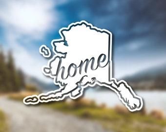 Alaska State Home Decal // Alaska Decal // Vinyl Decal // Car Decal // State Decal // Home State Decal // Bumper Sticker // Laptop Decal