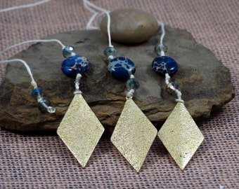 Blue and Gold Bookmark // String Bookmark // Book Thong // Gold Diamond Bookmark