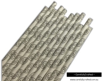 Paper Straws - Grey Design - Set of 25 (19.5cm x 0.6cm) #PS43