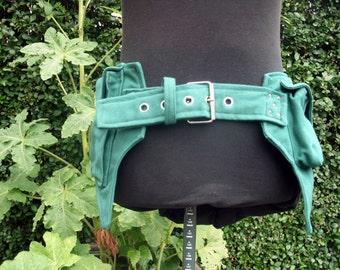 Green canvas bum bag Pixie Festival Belt
