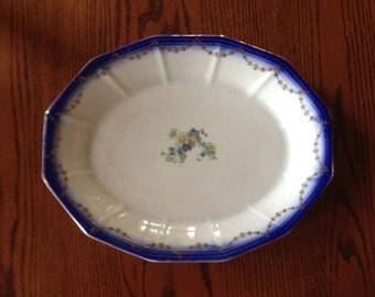 Free Shipping Antique China Oval Platter Flow Blue Flow Gold Gilt  Trim Green and Purple Flowers