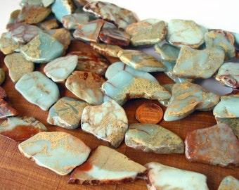 "15"" Seafoam Terra Jasper 30mm Blue slab focal freeform nugget gemstone Beads - snakeskin - Impression Jasper"