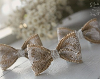 Burlap and lace bows