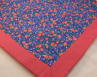 Table Topper, Tablecloth -- Vintage Inspired Pink and Blue Floral -- Table Runner, Calico, Homespun